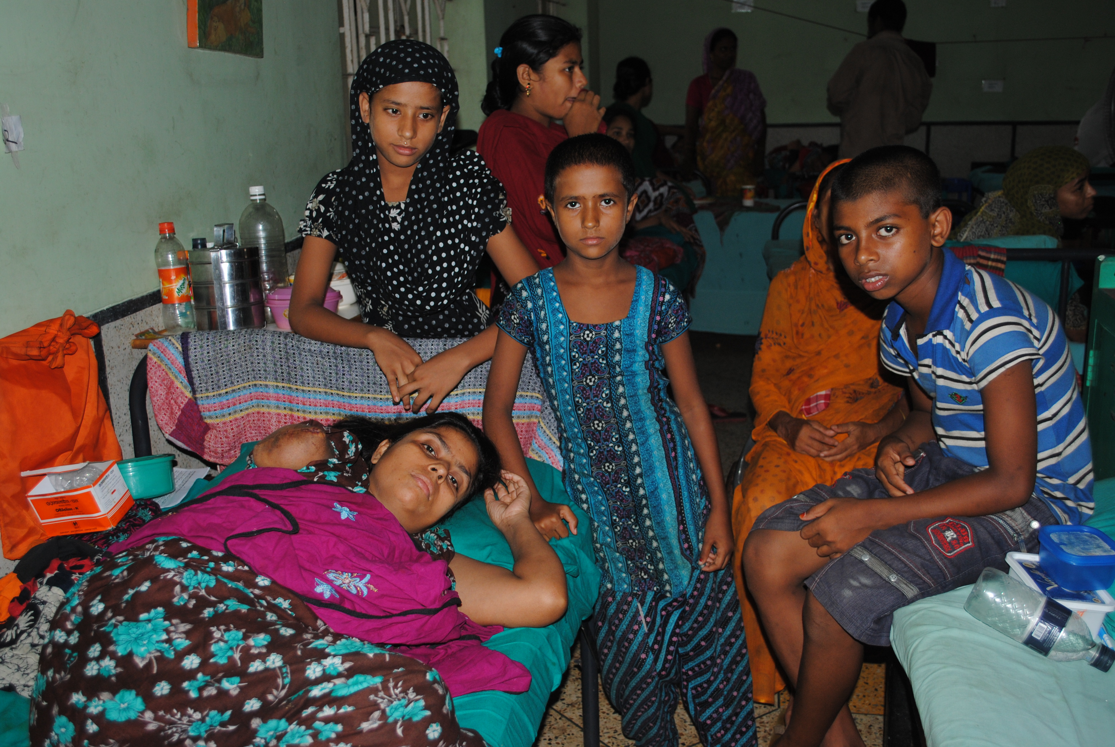 Shilpi with her daughters and nephew whose mother died in Rana Plaza, and who she is now responsible for taking care of